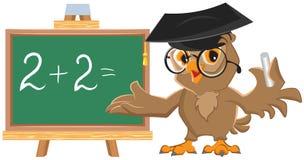 Sowa nauczyciel prowadzi matematyki lekcję Zdjęcia Stock