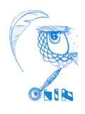 Sowa odizolowywająca Śliczny boho wzoru ptak wektor Błękitna kolorystyki książki strona dla dorosłego Zentangle lasu zwierzę ręka ilustracji