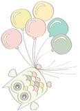 Sowa z balonami Zdjęcie Royalty Free