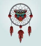 Sowa z Dreamcatcher na białym tle Obrazy Royalty Free