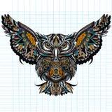 Sowa z otwartymi skrzydłami i pazurami SOWA rysująca w zentangle stylu Antistress freehand nakreślenie rysunek ilustracji