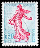 Sower of Piel (type II), Semeuse lined background, Agriculture serie, circa 1960. MOSCOW, RUSSIA - FEBRUARY 20, 2019: A stamp printed in France shows Sower of royalty free stock photo