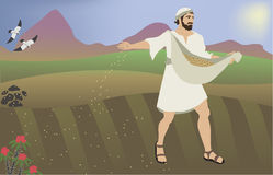 Sower of Seeds. Biblical illustration of the parable Sower of seeds. Baced on Bible verse: Mat 13:1-8 Royalty Free Stock Image