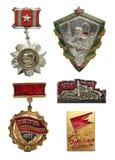 Sowieci i Ukraina ikona set pracowniczy i militarny Dla odróżnienia Zdjęcia Royalty Free