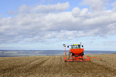 Sowing spring barley on the yorkshire wolds Royalty Free Stock Images