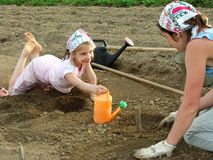 Sowing together Stock Photo