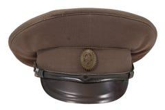Sowjetische Feldschutzkappe des Offiziers in der Armee Stockfoto