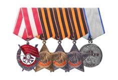 Sowjetische Militärpreise UDSSR Bestellung der roten Fahne, Ruhm, MED Stockfotos