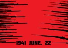 Sowjetische und deutsche Gewehre auf dem roten Hintergrund Stockfotos
