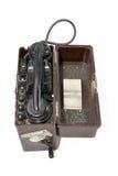 Sowjetischer beweglicher Telefonapparat auf Weiß Lizenzfreies Stockbild