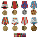 Sowjetischer Militärmedaillensatz Stockbild