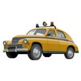Sowjetischer Retro- gelber Polizeiwagen mit Blinklichtern Stockfotos