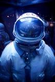 Sowjetischer Spacesuit mit symbolics von UDSSR Stockbilder