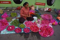 Sown flowers. Merchants selling flowers sown in Madiun, East Java, Indonesia Royalty Free Stock Photos