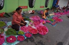 Sown flowers. Merchants selling flowers sown in Madiun, East Java, Indonesia Stock Photo