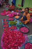 Sown flowers. Merchants selling flowers sown in Madiun, East Java, Indonesia Royalty Free Stock Photography
