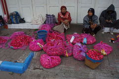 Sown flowers. Merchants selling flowers sown in Madiun, East Java, Indonesia Stock Image