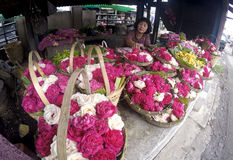 Sown flowers. Vendors selling flowers sown for the benefit of the grave pilgrimage in Sukoharjo, Central Java, Indonesia Stock Photo