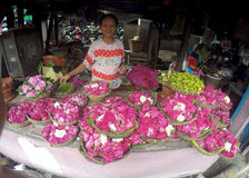 Sown flowers. Vendors selling flowers sown for the benefit of the grave pilgrimage in Sukoharjo, Central Java, Indonesia Stock Images