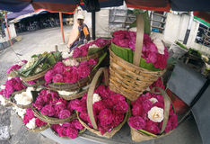Sown flowers. Vendors selling flowers sown for the benefit of the grave pilgrimage in Sukoharjo, Central Java, Indonesia Royalty Free Stock Image