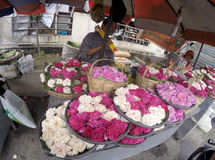 Sown flowers. Vendors selling flowers sown for the benefit of the grave pilgrimage in Sukoharjo, Central Java, Indonesia Royalty Free Stock Photos