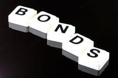 Słowo więzi - termin Używać Dla biznesu w finanse i rynku papierów wartościowych handlu Zdjęcia Stock
