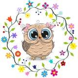 Sowy dziewczyna w kwiat ramie ilustracja wektor