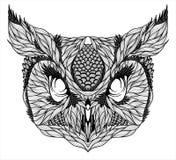 SOWY głowy tatuaż psychodeliczny ilustracja wektor