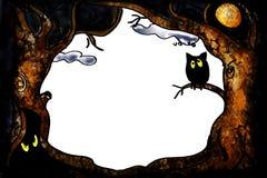 Sowy halloweenowa granica Obraz Royalty Free