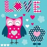 Sowy miłości wektoru ilustracja Obrazy Stock