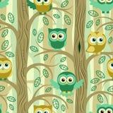 Sowy w lato lasowym bezszwowym wzorze ilustracja wektor
