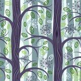 Sowy w lato lasowym bezszwowym wzorze royalty ilustracja