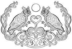 Sowy w miłość celta ornamencie royalty ilustracja