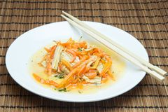Soy asparagus and carrots. Salad with soy asparagus and carrots in Korean Stock Photos