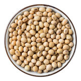 Soy bean. Close up soy bean in ceramic dish isolated on white - with path Stock Photo