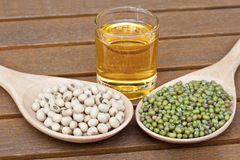 Soy bean and green bean Stock Photos