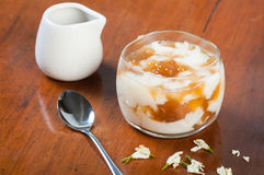 Soy bean pudding also known as taho stock photos