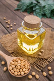 Soy bean and soy oil on wooden table Royalty Free Stock Images