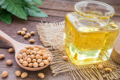 Soy bean and soy oil on wooden table Stock Photography