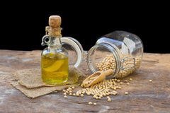 Soy bean and soy oil on wooden table.  Royalty Free Stock Image