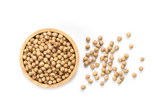 Soy beans in bowl isolated on white background Stock Photo
