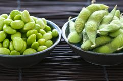 Soy beans in bowls Royalty Free Stock Photos