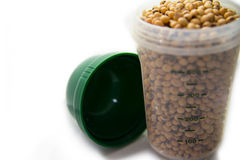 Soy beans contained on protein shaker Stock Photo