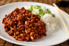 Soy beans and rice. Soy beans with rice and green onion Stock Image