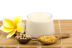 Soy beans and soy milk in a glass.(Glycine max (L.) Merr.) Stock Photos