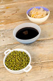 Soy beans, sprouts and sauce Royalty Free Stock Image