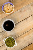 Soy beans, sprouts and sauce Stock Photo