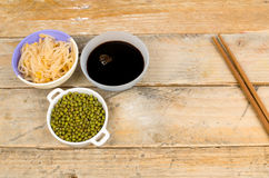 Soy beans, sprouts and sauce Stock Images