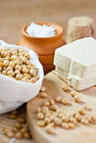 Soy beans, tofu & nigari Royalty Free Stock Photos