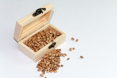 Soy beans in the white wooden retro box Royalty Free Stock Photo